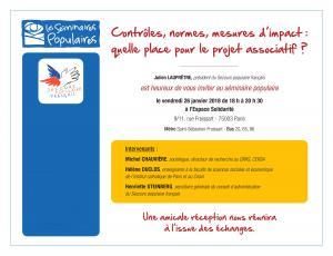 « Contrôles, normes, mesures d'impact : quelle place pour le projet associatif ?», séminaire du vendredi 26 janvier