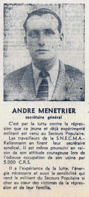 Cette photo est extraite du magasine du SPF La Défense (21 décembre 1950). Elle illustre un article présentant André Ménétrier.