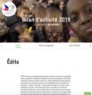 Capture écran mini site bilan d'activités 2019