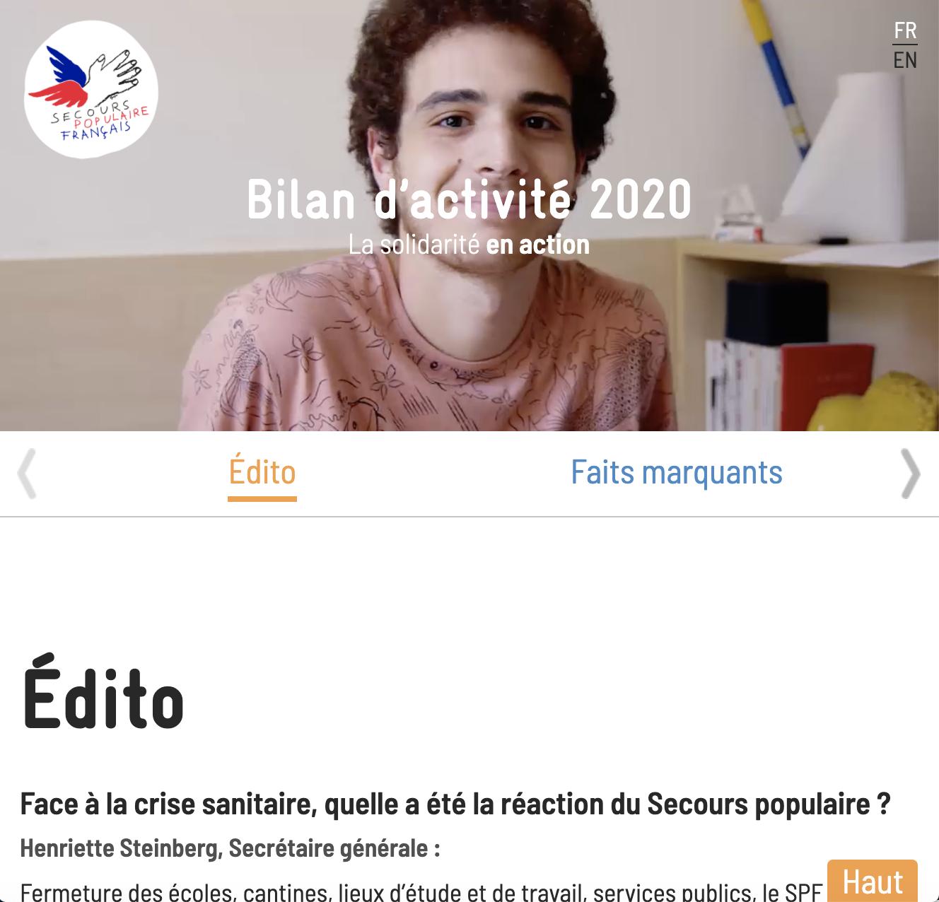 Capture écran mini site bilan d'activités 2020
