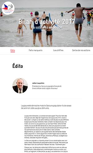 Capture écran mini site bilan d'activités 2016