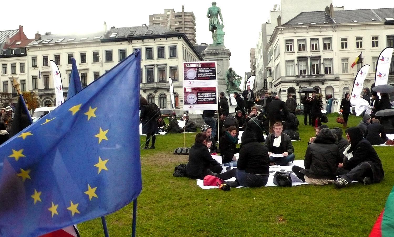 Manifestation à Bruxelles du mouvement Air Food soutenu par le SPF  pour s'opposer à  l'arrêt du Programme européen d'aide aux plus démunis (PEAD) qui permet à 18 millions d'Européens de se nourrir.