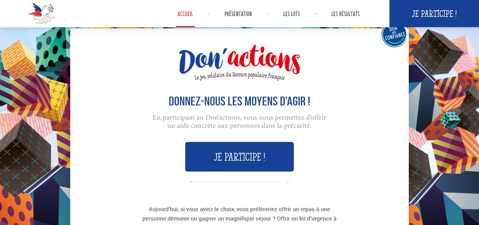 Autour du Don'actions se joue la mise en mouvement de toutes les bonnes volontés. Ici, le site spécial du Don'actions.